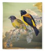 Ethereal Birds On Snowy Branch Fleece Blanket