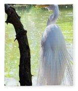 Ethereal Snowy Egret Fleece Blanket