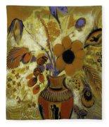 Etrusian Vase With Flowers Fleece Blanket