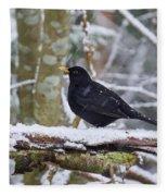 Eurasian Blackbird In The Snow Fleece Blanket