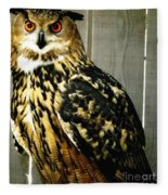 Eurasian Eagle-owl With Oil Painting Effect Fleece Blanket
