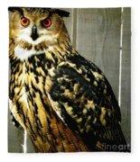 Eurasian Eagle-owl With Oil Painting Effect Fleece Blanket