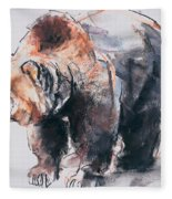 European Brown Bear Fleece Blanket