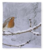 European Robin On Snowy Branch Fleece Blanket