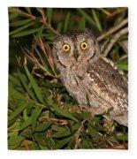 European Scops Owl  Fleece Blanket