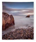Evening At Knab Rock In Mumbles Fleece Blanket