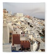 Evening At Santorini Fleece Blanket