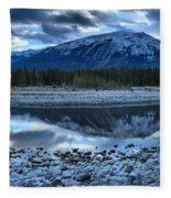 Evening At The Athabasca River Fleece Blanket