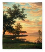 Evening Atmosphere By The Lakeside Fleece Blanket