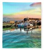 Evening Bridlington Harbour Fleece Blanket