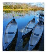 Evening Canoes At The Dock Fleece Blanket
