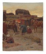 Evening Falls At The Camp Fleece Blanket