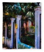 Evening Fence And Gate - Nola Fleece Blanket
