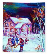 Evening  Game At The Chalet Fleece Blanket