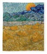 Evening Landscape With Rising Moon Fleece Blanket