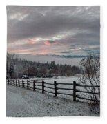 Evening Mountain Glow Fleece Blanket