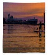 Evening On Lake Michigan At Grand Haven Fleece Blanket