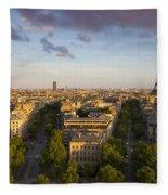Evening Over Paris Fleece Blanket