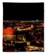 Evening Panorama - Landshut Germany Fleece Blanket
