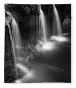 Evening Plunge Waterfall Black And White Fleece Blanket
