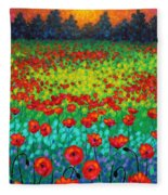 Evening Poppies Fleece Blanket