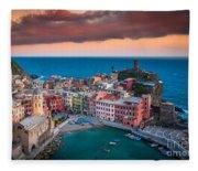 Evening Rolls Into Vernazza Fleece Blanket