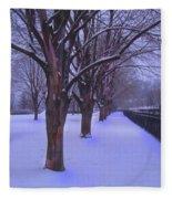 Evening Snow Path At Waterfront Park Burlington Vermont Fleece Blanket