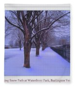 Evening Snow Path At Waterfront Park Burlington Vermont Poster Greeting Card Fleece Blanket