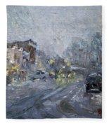 Evening Snowfall At Webster St Fleece Blanket