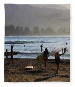 Evening Surfers At Hanalei Bay Fleece Blanket