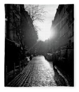 Evening Walk In Paris Bw Fleece Blanket