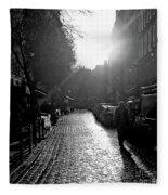 Evening Walk In Paris Bw Squared Fleece Blanket
