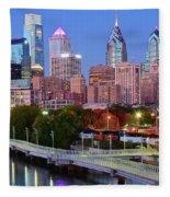 Evening Walk In Philly Fleece Blanket