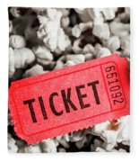 Event Ticket Lying On Pile Of Popcorn Fleece Blanket