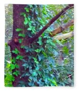 Evergreen Tree With Green Vine Fleece Blanket