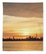 Every Morning Is Different - Toronto First Sunrays In Cyber Yellow  Fleece Blanket