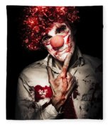Evil Blood Stained Clown Contemplating Homicide Fleece Blanket