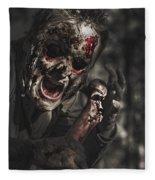 Evil Male Zombie Screaming Out In Bloody Fear Fleece Blanket