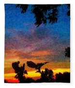 Exagerated Sunset Painting Fleece Blanket