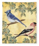 Exotic Bird Floral And Vine 1 Fleece Blanket
