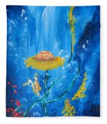 Exotic Colorful Flowers Abstract Composition Fleece Blanket