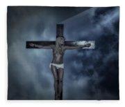 Experimental Crucifix In The Light Fleece Blanket