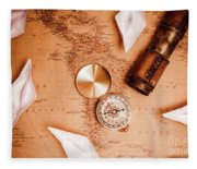 Explorer Desk With Compass, Map And Spyglass Fleece Blanket