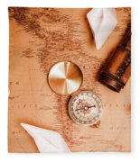 Explorer Desk With Compass, Map And Spyglass Fleece Blanket