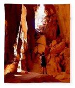 Exploring A Cave Fleece Blanket