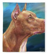 Expressive Painting Of A Red Nose Pit Bull On Blue Background Fleece Blanket