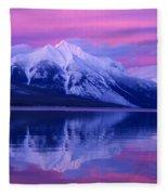 Extreme Sunset On Lake Mcdonald Fleece Blanket