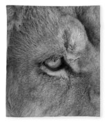 Eye Of The Lion #2  Black And White  Fleece Blanket