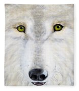 Eyes Of The Wolf Fleece Blanket