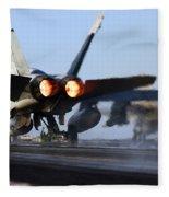 F 18 Hornet-aircraftcarriers Fleece Blanket